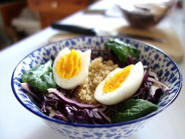 Salade compléte d'hiver : quinoa, chou rouge, pousses d'épinard et oeuf dur
