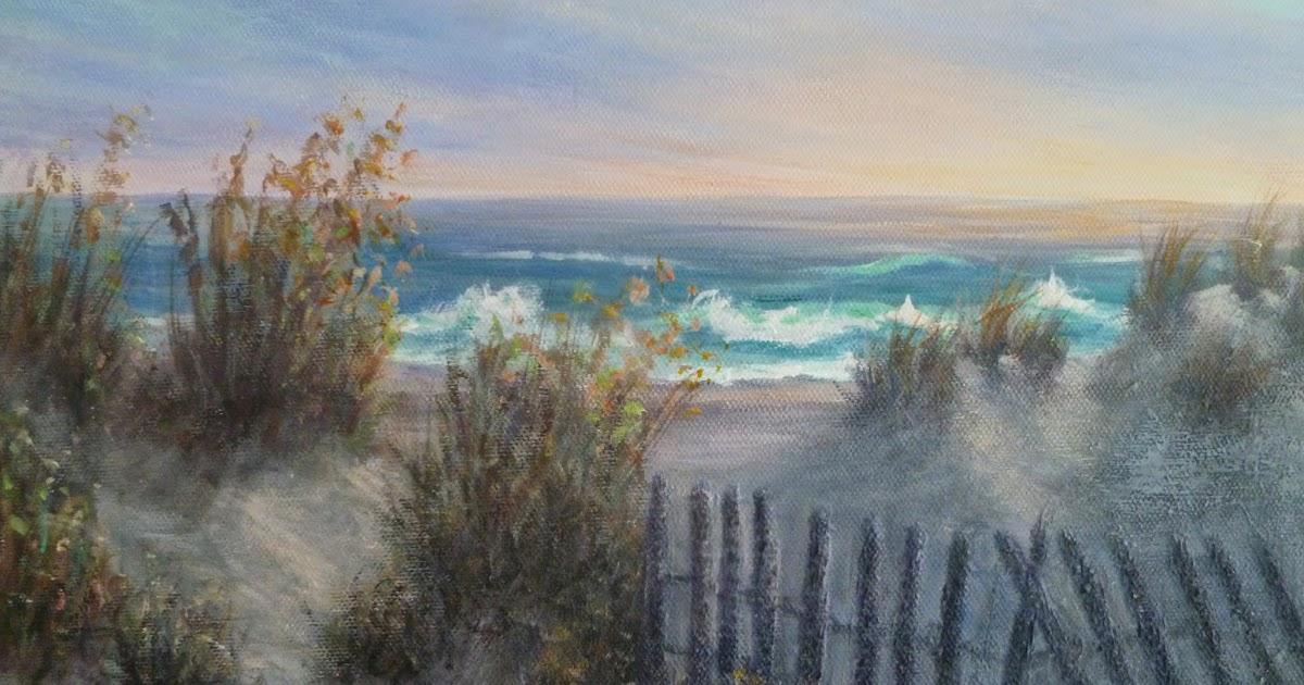 Beach Sand Dunes Sunrise Coastal Painting  Amber