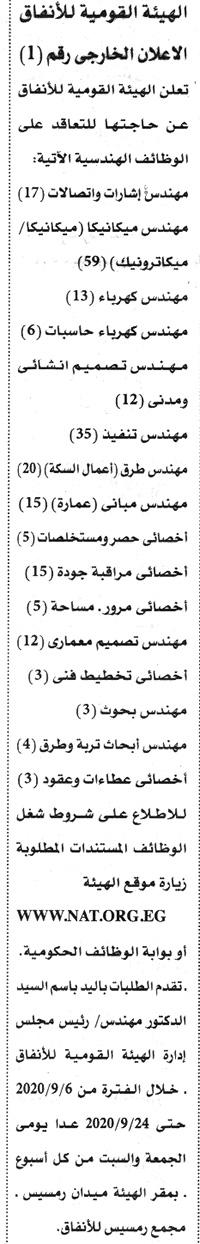 اعلان وظائف الهيئة القومية للانفاق - اعلان رقم 1 لسنة 2020 منشور بالاهرام اليوم