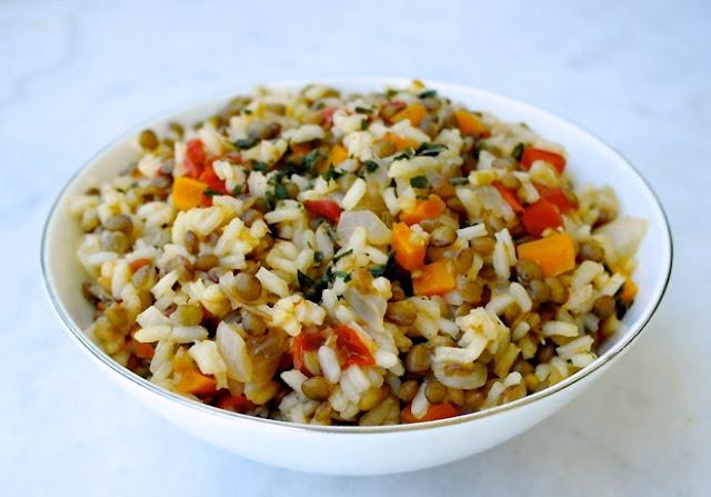 Greek Lentils and Rice-Fakorizo