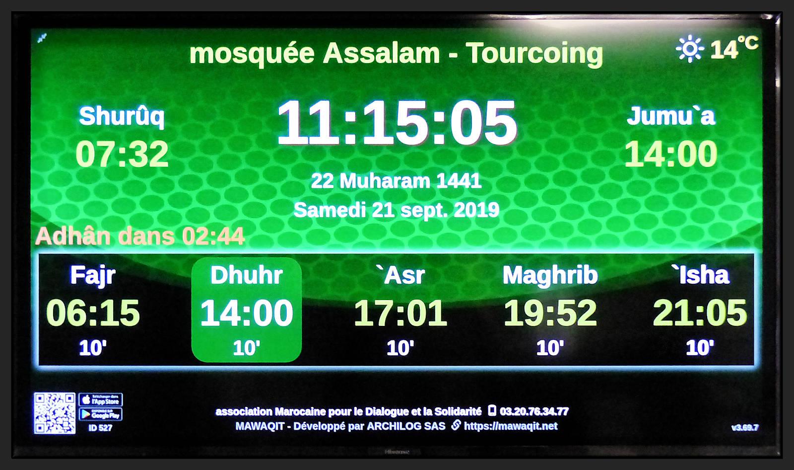 Mosquée Es-Salaam Tourcoing - Heures des prières