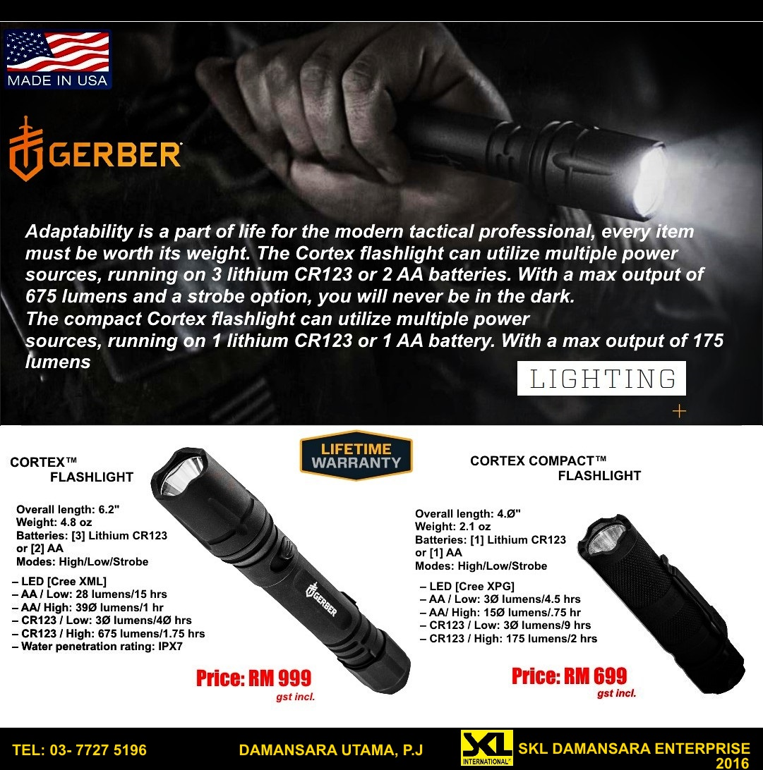 Gerber Tactical Military Flashlight up to 675 Lumens now available at SKL Damansara Outlet!!!