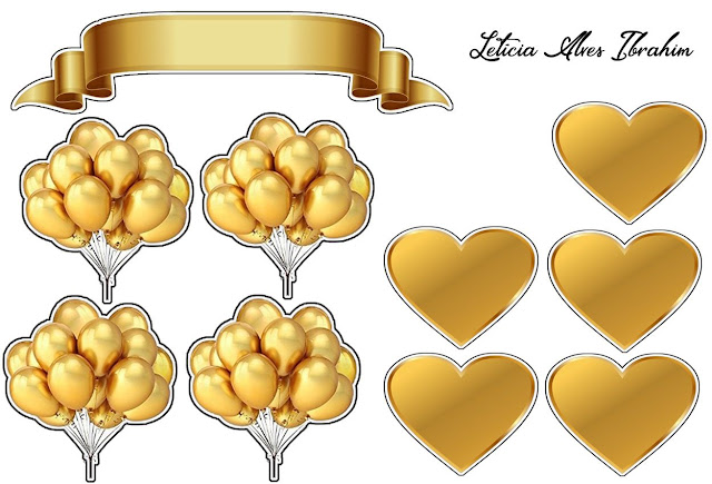 Golden Hearts and Balloons: Free Printable Cake Toppers.
