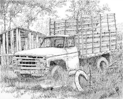 pen drawing rural abandoned vintage truck farm