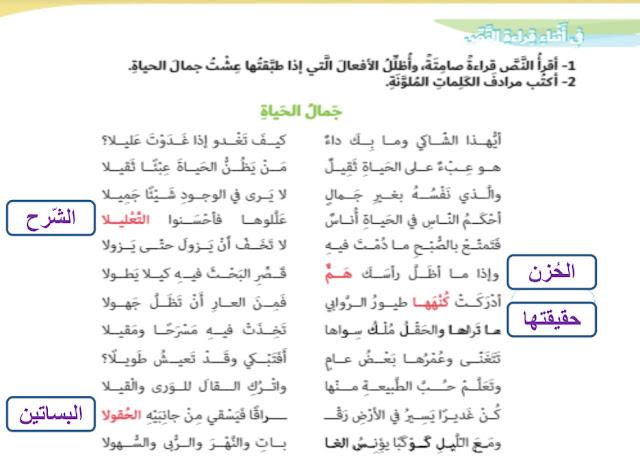 حل درس (جمال الحياة – العطف) لغة عربية صف سادس فصل ثالث