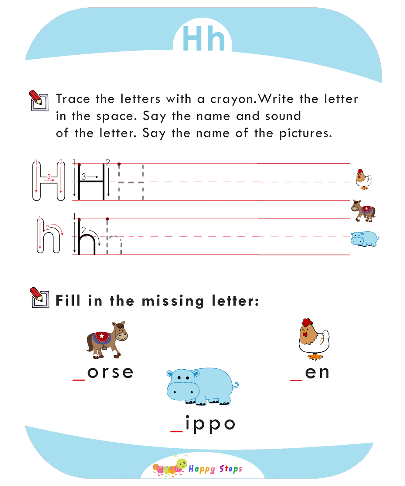 Activity Worksheet 2 Letter H