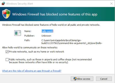 Windows Firewall melakukan blocking pada aplikasi
