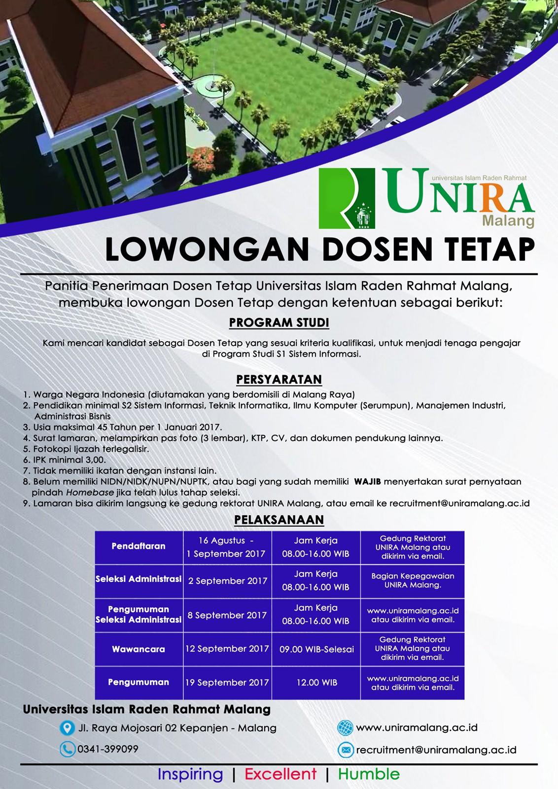 Lowongan Dosen Tetap Universitas Raden Rahmad (UNIRA) Malang 2017