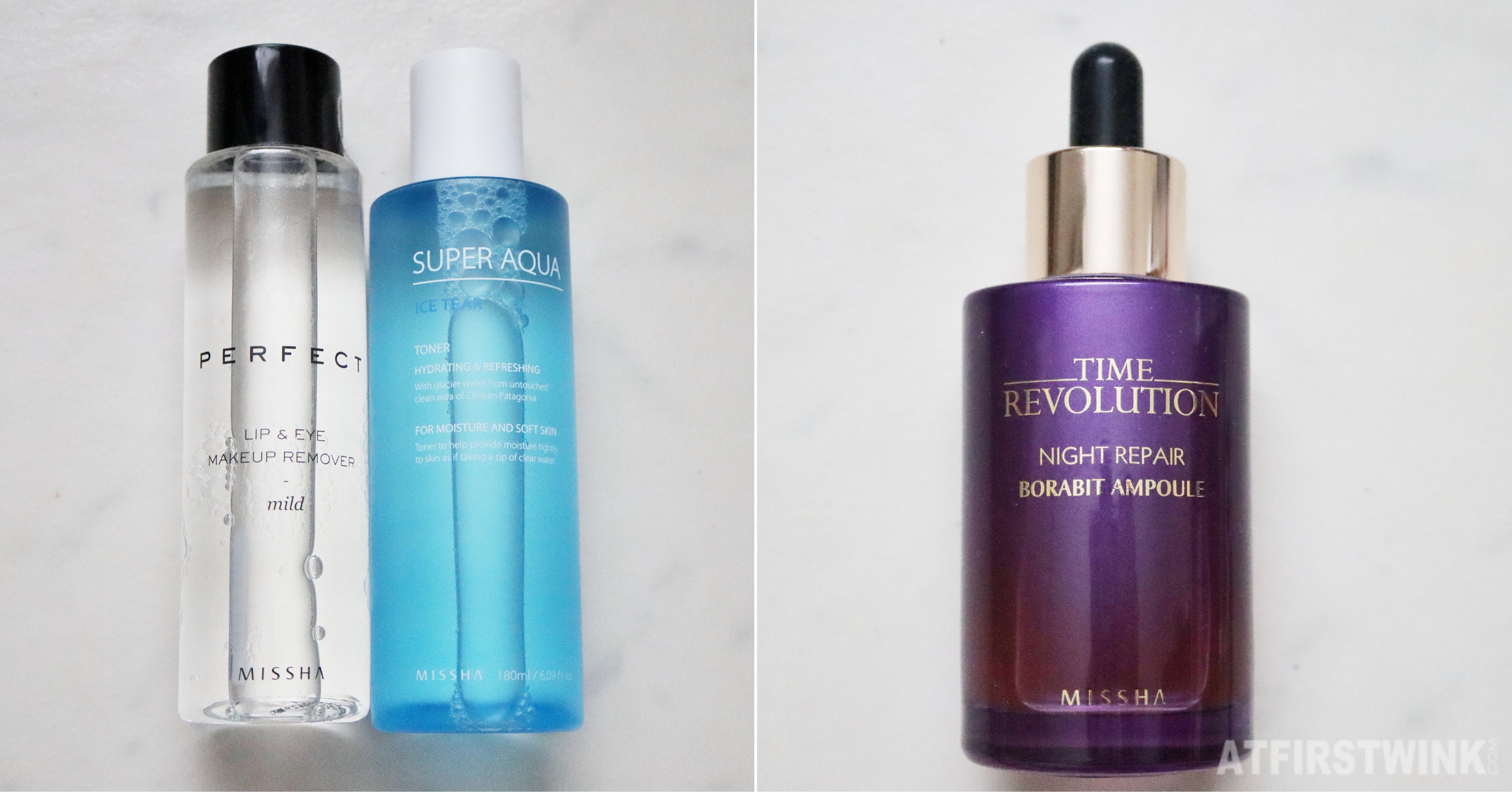 Missha time revolution night repair borabit ampoule super aqua ice tear toner perfect lip and eye remover