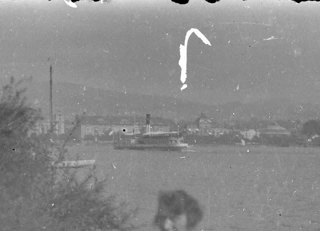 Detail - Blick über den Zürichsee Richtung Utoquai - ca. 1910-1920 - im Hintergrund das Grandhotel Bellevue, das Hotel Eden au Lac und das Rundpanorama