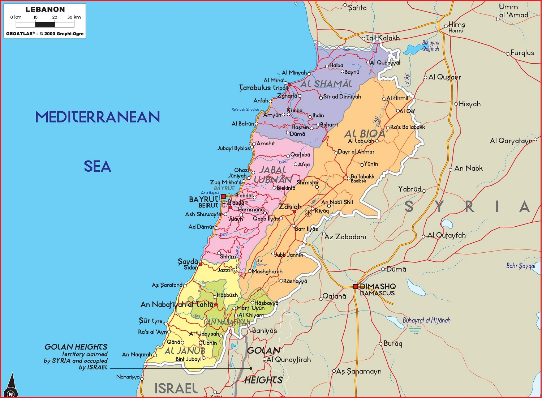 Peta Negara Lebanon