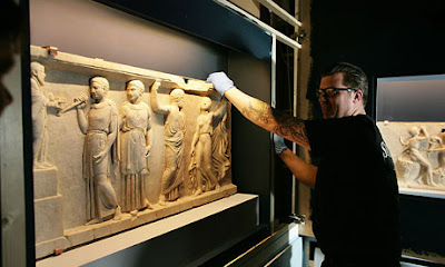 Roman marble panels split for 2,000 years reunited
