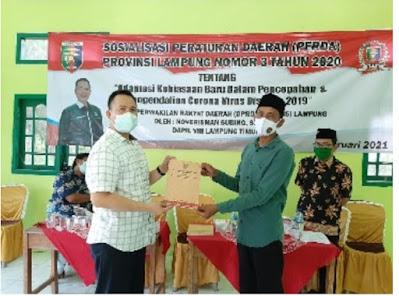 Nover Sosialisasikan Perda Adaptasi Kebiasan Baru di Kecamatan Pasir Sakti, Lampung Timur