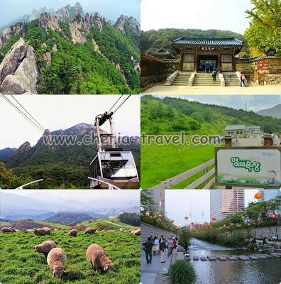 Mt. Seorak, Shinheungsa Temple, Gwongumsung Fortress, Daegwallyeong Sheep Ranch, Cheonggyecheon Stream