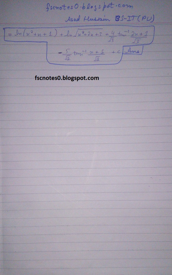 FSc ICS Notes Math Part 2 Chapter 3 Integration Exercise 3.5 question 23 - 31 by Asad Hussain 14