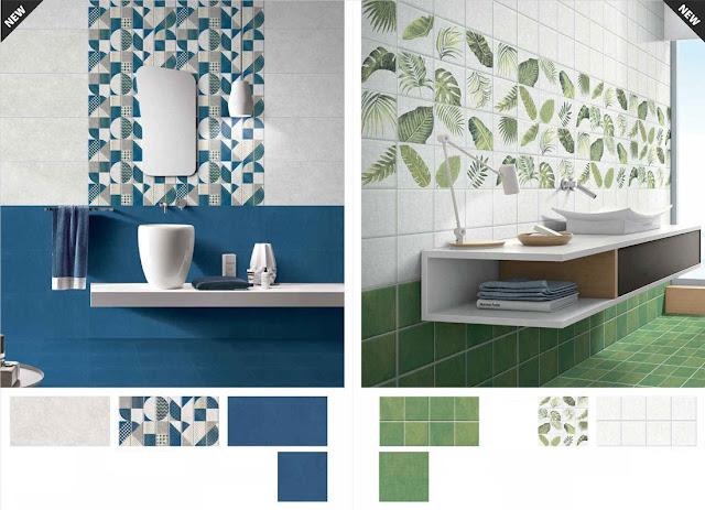 Blue Green Tiles for Bathroom