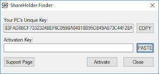 ShareHolder Finder Activation Key Paste