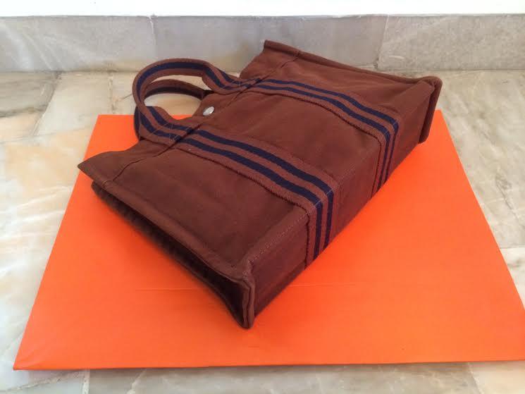 5376dd484df Truly Vintage: Authentic Hermes Canvas Fourre Tout PM Tote Bag Brown