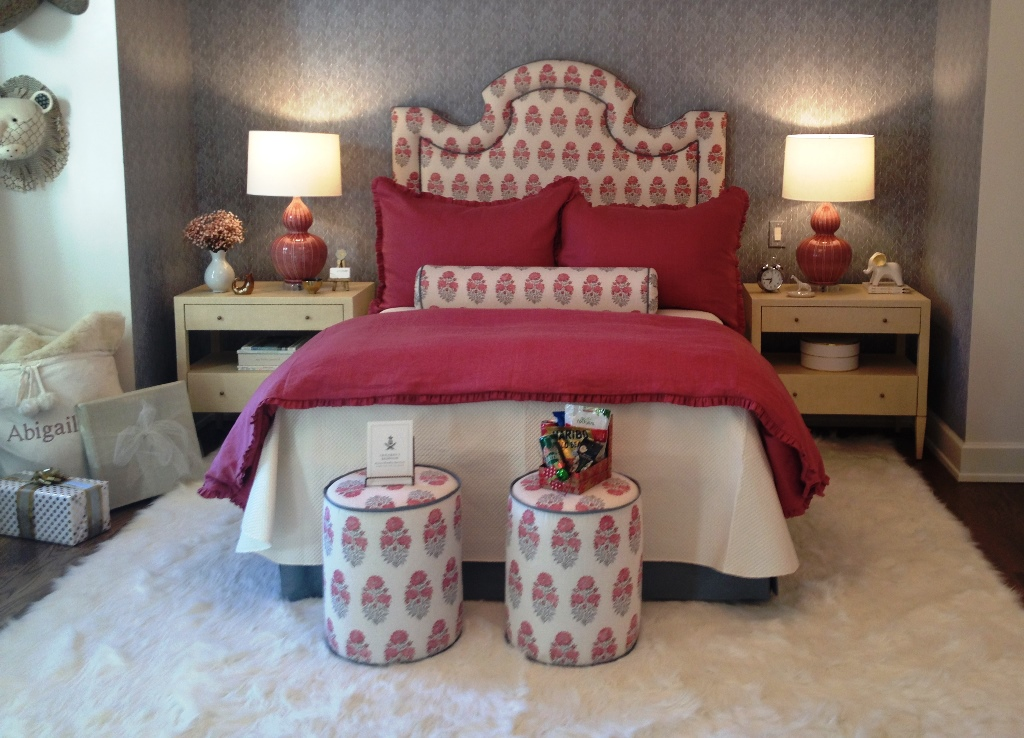 Bedroom decorated for Christmas in Atlanta ShowHouse 2016