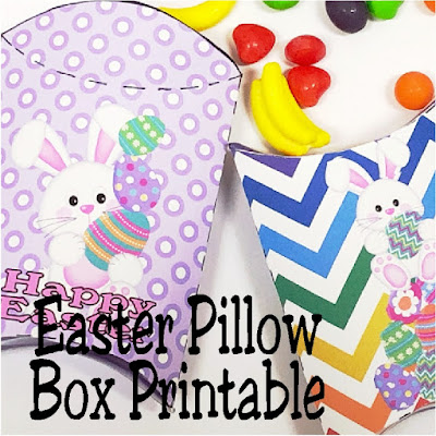 Quckly and easily print these Easter pillow boxes for a fun way to give sweets and treats to all your friends this Easter  These free printable pillow boxes have cute Easter Bunnies and fun colors to brighten up your Easter baskets.