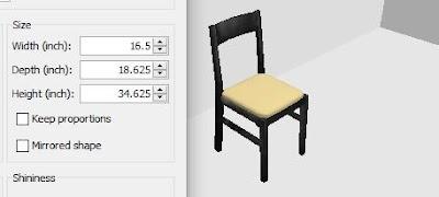 ukuran kursi meja makan 4
