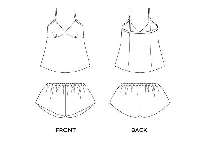 Fifi sewing pattern - camisole and shorts set for the boudoir - Tilly and the Buttons