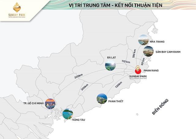 Vị trí của SunBay Park Hotel & Resort Phan Rang thuận lợi cho mọi hành trình khám phá hotine 0934136173