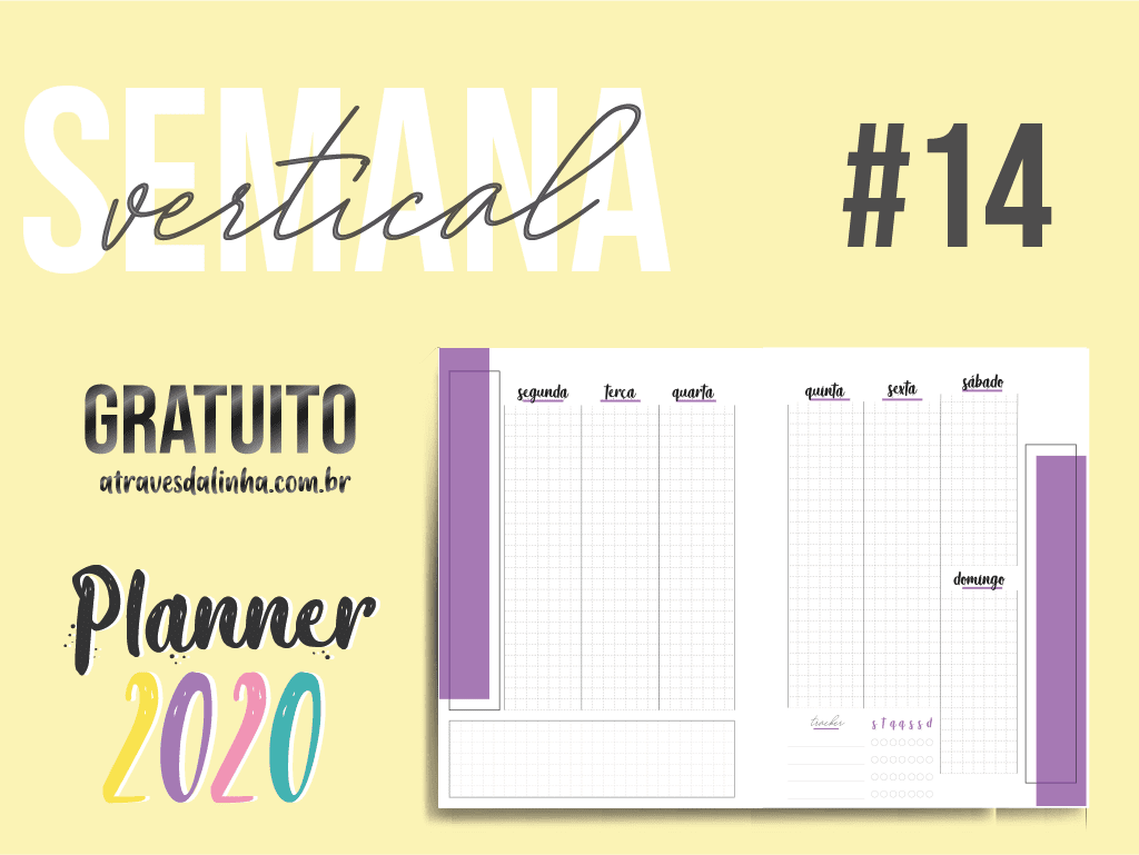 Planner 2020: Semana Vertical gratuita para download