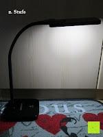 2. Stufe: DBPOWER® Oberfl chenlichtquelle, Dimmbar, Augenschutz, LED-Schreibtischlampe (6W, 800LUX, 3-Level-Dimmer, Flexible Arm, schwarz)