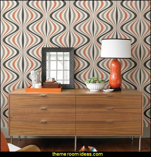 70s wallpaper Geo Hendrix Wallpaper  Retro mod style decorating ideas - mid century mod style decorating ideas - mid century furniture - Modern Retro eclectic decorating ideas - retro decor - funky modern decorating -  50s, 60s, 70s - Mid century Interiors - retro mod style nursery - mid century modern bedroom