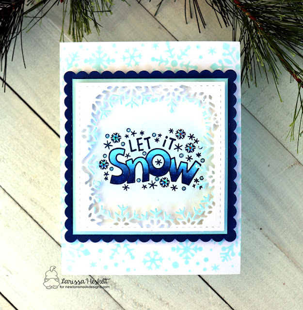 Let it Snow by Larissa Heskett for Newton's Nook Designs using Let it Snow, Frames Squared and Snowfall Stencil #letitsnow #newtonsnook #newtonsnookdesigns #snowfallstencil