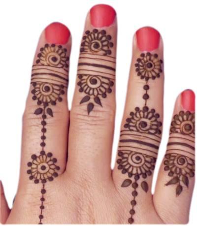 simple finger mehndi design front