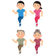 いろいろな足踏み運動をする人のイラスト