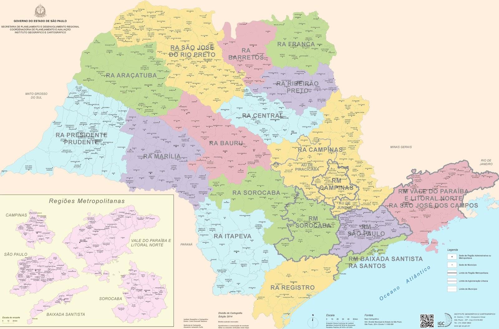 Mapa das Microrregiões de São Paulo