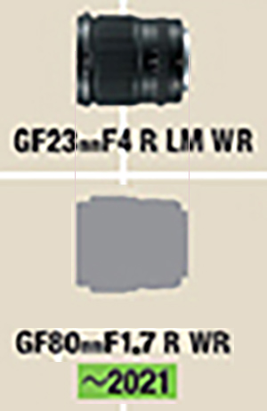 Сравнение размеров объектива GF 80mm f/1.7 с объективом GF 23mm f/4