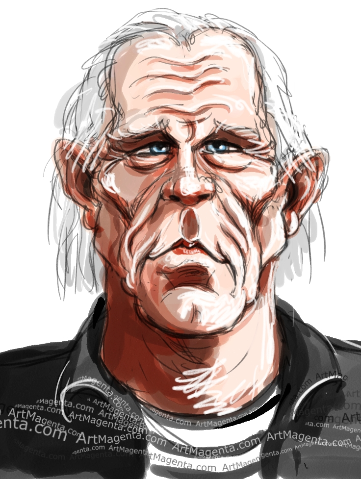 Nick Nolte caricature cartoon. Portrait drawing by caricaturist Artmagenta