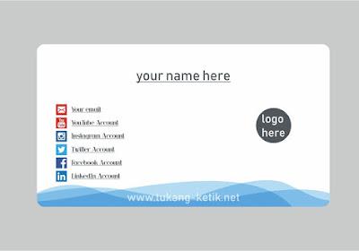 Desain Kartu Nama Format Vector CorelDRAW   Motif Biru Abstrak