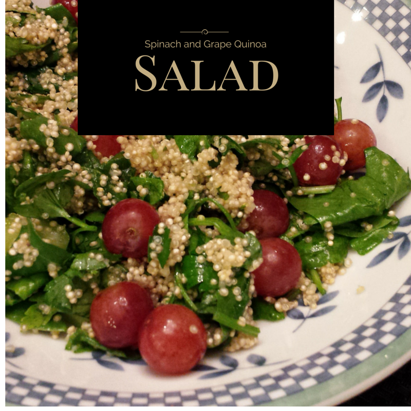 Spinach and Grape Quinoa Salad Recipe courtesy of Papa Spud's At-home Produce Delivery Service.