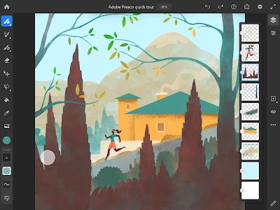 Tampilan workspace Adobe Fresco