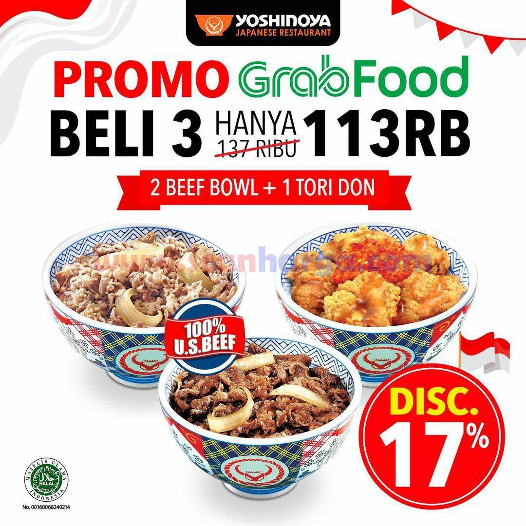 YOSHINOYA Promo GRABFOOD - Beli 3 (2 Beef Bowl + 1 Tori Don) Hanya Rp. 113.000