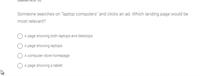 """Someone searches on """"laptop computers"""" and clicks an ad. which landing page would be most relevant?   ."""