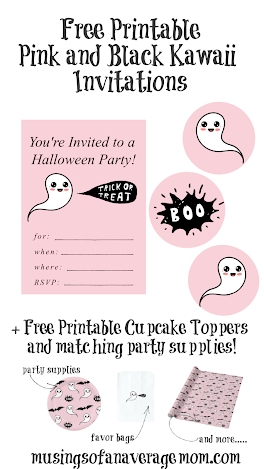 free printable pink and black Halloween invitations