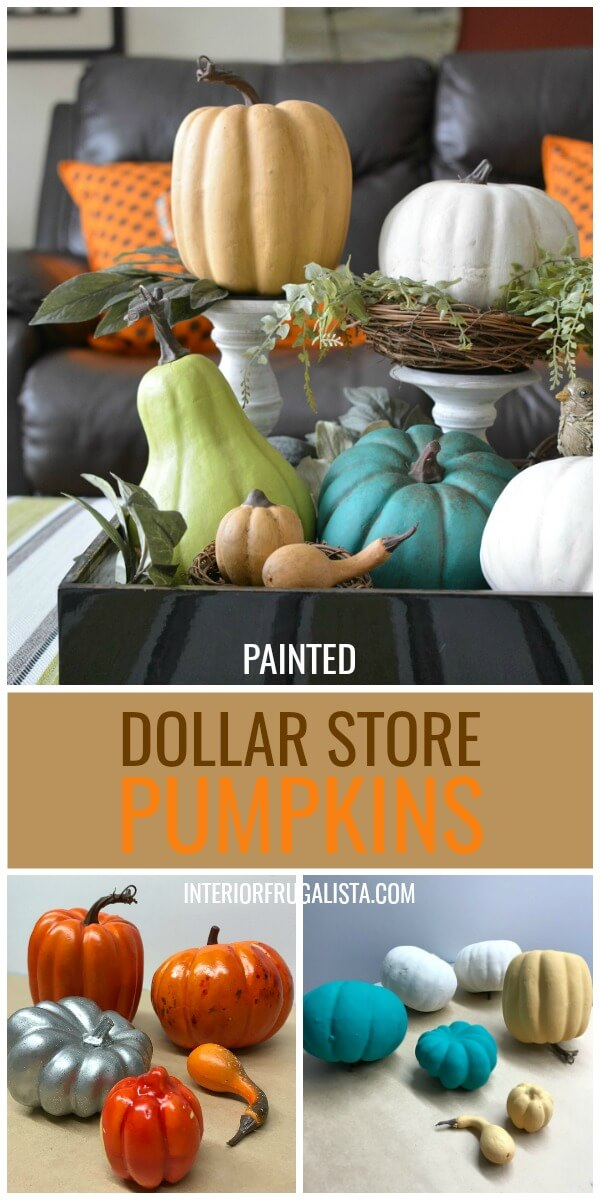 Painted Dollar Store Pumpkins Before and After