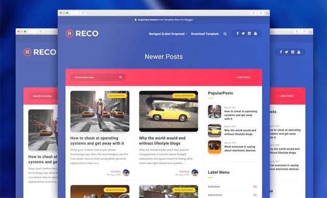 Reco Responsive Blogger Template Premium v1 5
