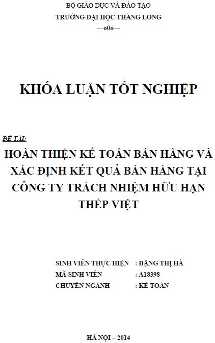 Hoàn thiện kế toán bán hàng và xác định kết quả bán hàng tại Công ty TNHH Thép Việt