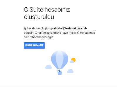 G Suite hesabınız oluşturuldu