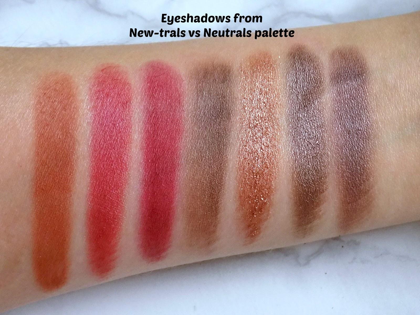 Makeup Revolution New-trals vs Neutrals palette swatches