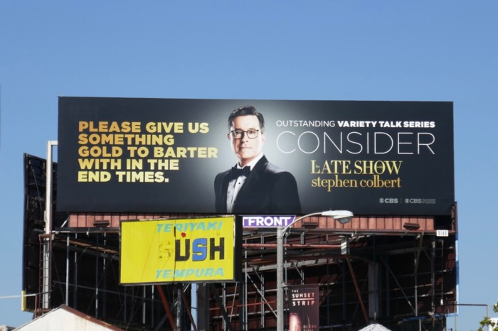 give something gold barter Stephen Colbert Emmy FYC billboard