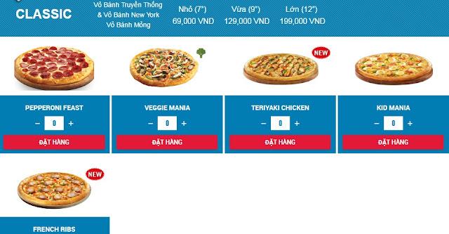 Bảng giá bánh domino pizza classic