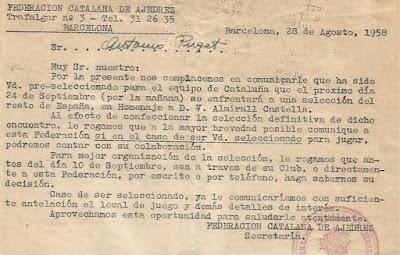 Convocatoria de la Federación Catalana de Ajedrez, año 1958